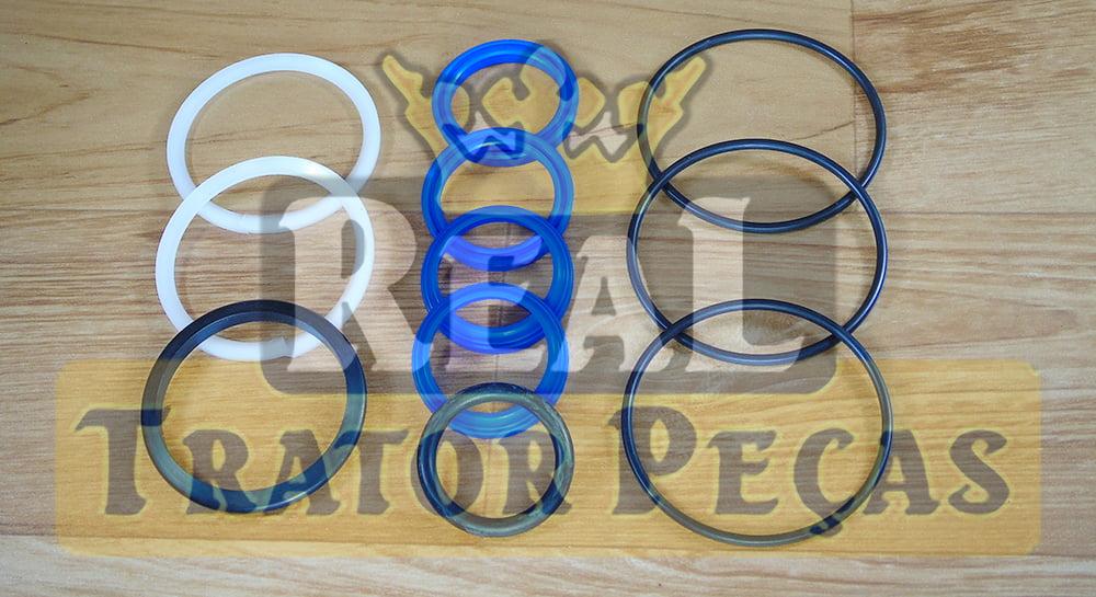 JOGO DE VEDAÇÃO REPARO CILINDRO HIDRÁULICO DIREÇÃO TRAÇÃO 4X4 ZF APL335 - MASSEY FERGUSON 250 / 265 / 275 / 285 | 5275 / 5285 / 5290 | VALTRA 685 / 700 / 785 / 800 / 885 / BL66 / BL77 (32MM)